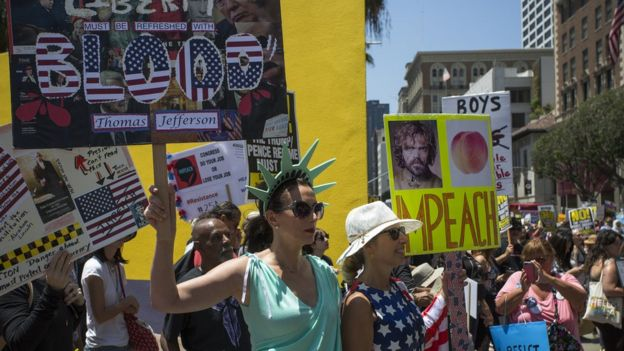 Marcha en Los Ángeles contra Donald Trump