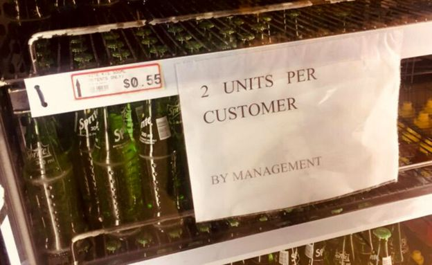 "Notice saying ""2 units per customer"