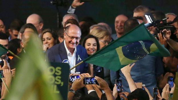 O candidato do PSDB Geraldo Alckmin na convenção do partido