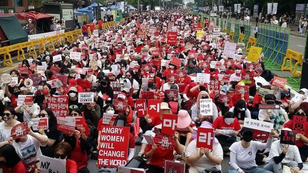 protestas en Corea del Sur.