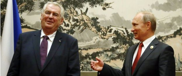 Russian President Vladimir Putin meets Czech President Milos Zeman during their bilateral meeting, September 3, 2015 in Beijing, China