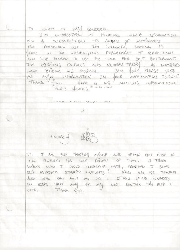 Carta enviada por Havens