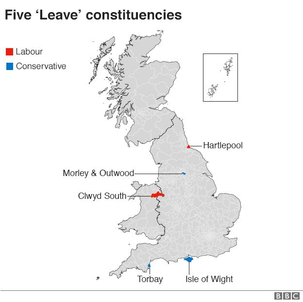 Five Leave constituencies