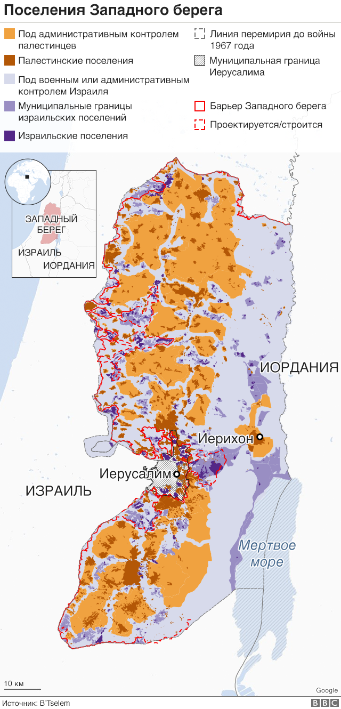Карта израильских поселений на Западном берегу