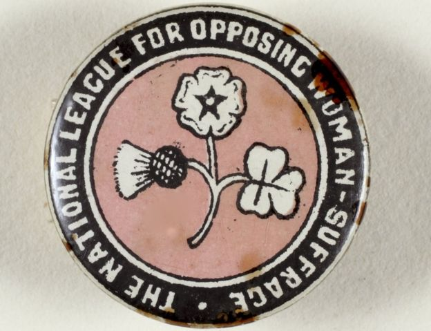 Anti-suffrage pin badge