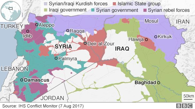 Map of Iraq and Syria showing IS areas of control