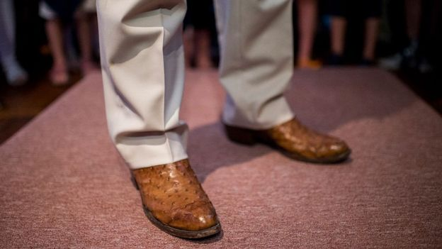 Mr Cruz's ostrich skin boots were regularly seen during stump speeches during his 2016 presidential campaign