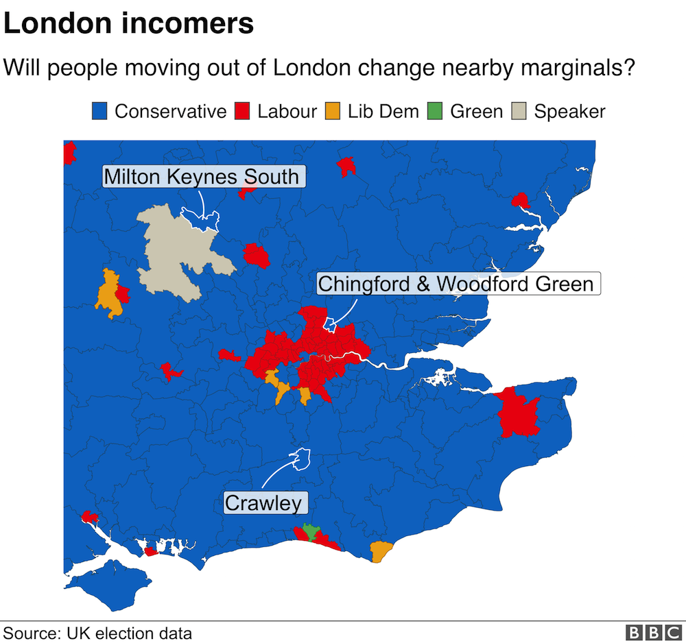 Map of areas outside London that could be affected by people moving from the capital