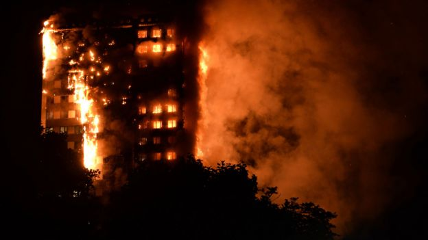 The fire brigade said 40 fire engines and 200 firefighters had been called to the blaze in Grenfell Tower