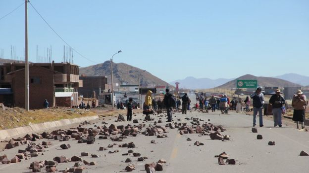 Protesta minera en Perú.