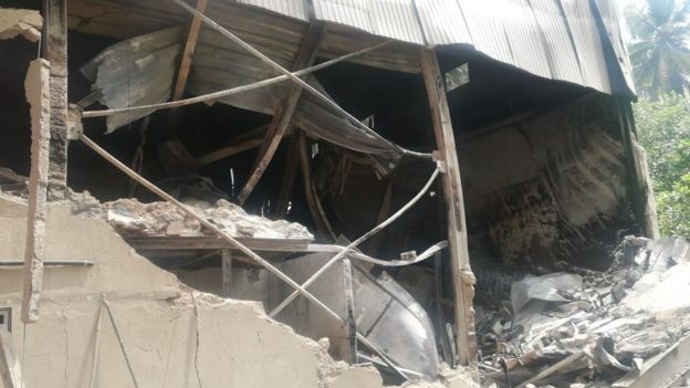 A picture showing the damage done to the factory in Sri Lanka
