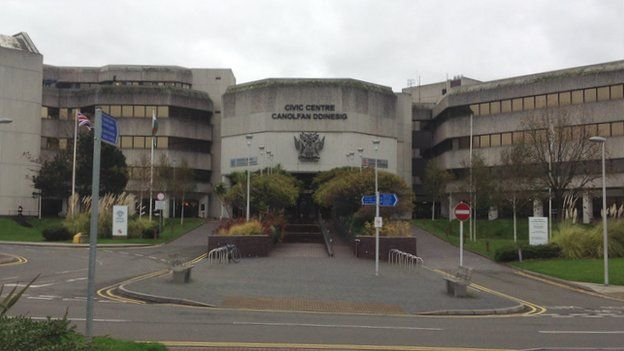 The civic centre sits on the seafront in Swansea