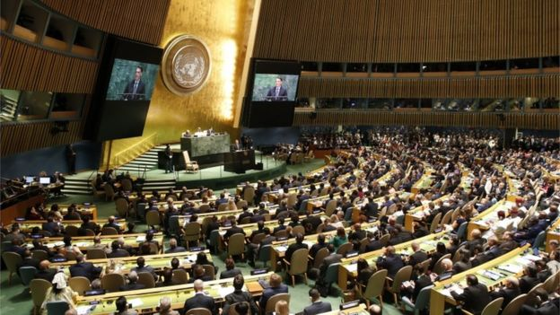 Plateia da Assembleia Geral da ONU durante discurso de Bolsonaro