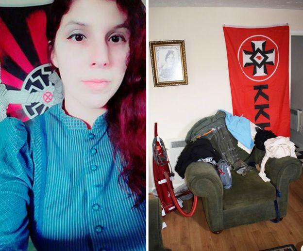 Claudia Patatas e uma bandeira da KKK em sua casa