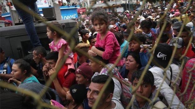 Imigrantes na fronteira do México com a Guatemala