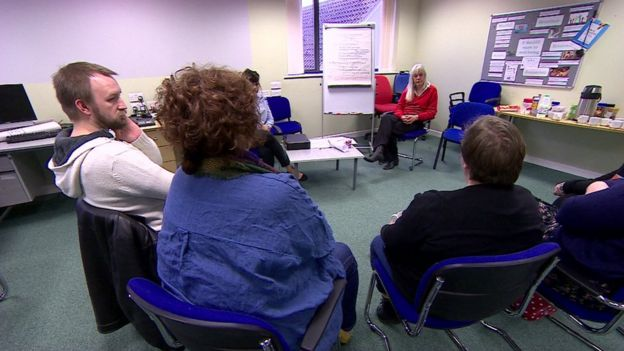 A therapy session in Swindon for people with PD