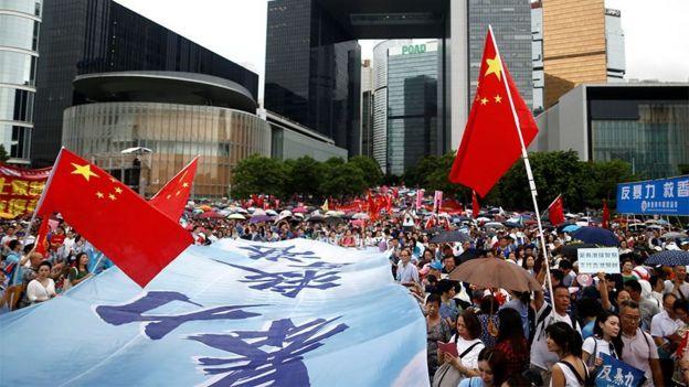 支持中国和香港政府的游行示威