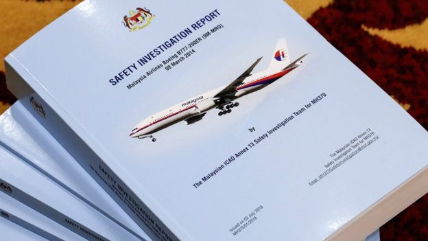 The MH370 safety investigation report at the Ministry of Transport headquarters in Putrajaya, Malaysia, 30 July 2018