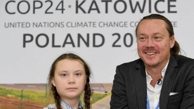 Greta Thunberg y su padre Svante Thunberg