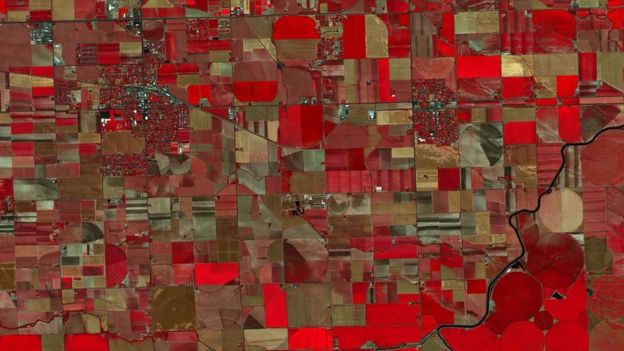 Imagem infravermelha de plantações em Idaho