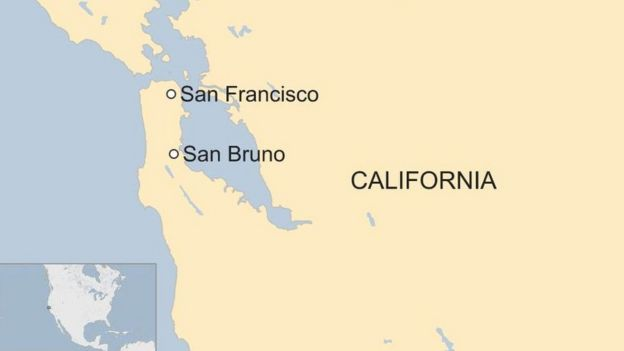 A map showing San Francisco and San Bruno