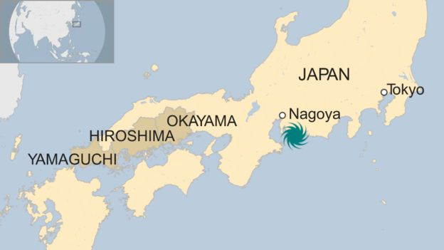 A BBC map showing the flood-hit regions of Japan and the likely place the typhoon will make landfall, according to forecasters