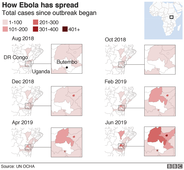 How Ebola has spread