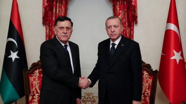 Президент Турции Эрдоган и глава Правительства национального согласия Ливии Саррадж