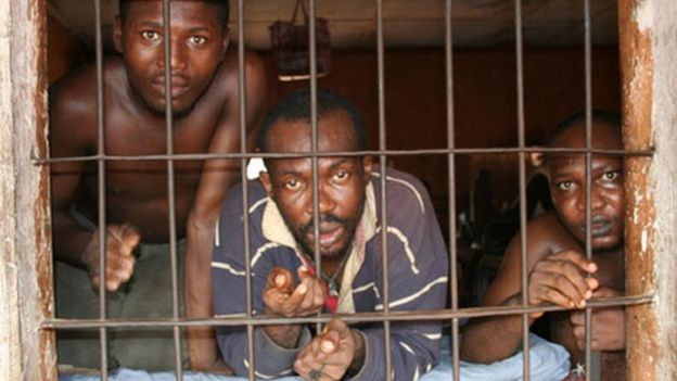 Prisoners in a prison in Enugu, Nigeria, pictured in 2009