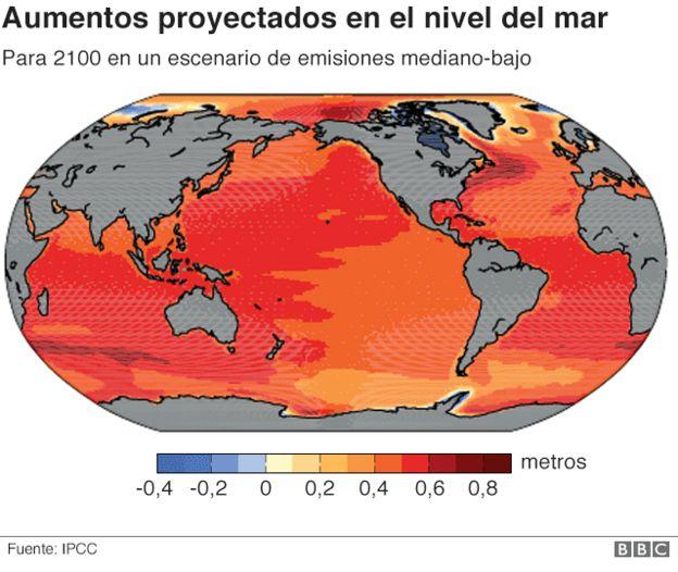 Mapa de aumentos proyectados en el nivel del mar