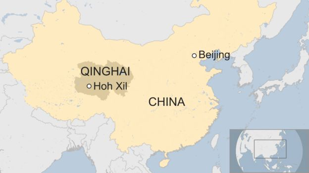 Map of Hoh Xil in China