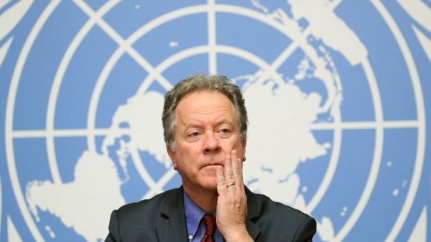 World Food Program (WFP) Executive Director David Beasley attends a press conference on food security in Yemen at the United Nations in Geneva, Switzerland, Dec. 4, 2018.