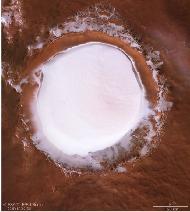A picture of the Korolev crater on Mars, shot as if seen from above