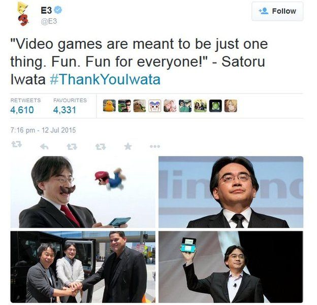 Screenshot of tweet on Satoru Iwata on 13 July 2015