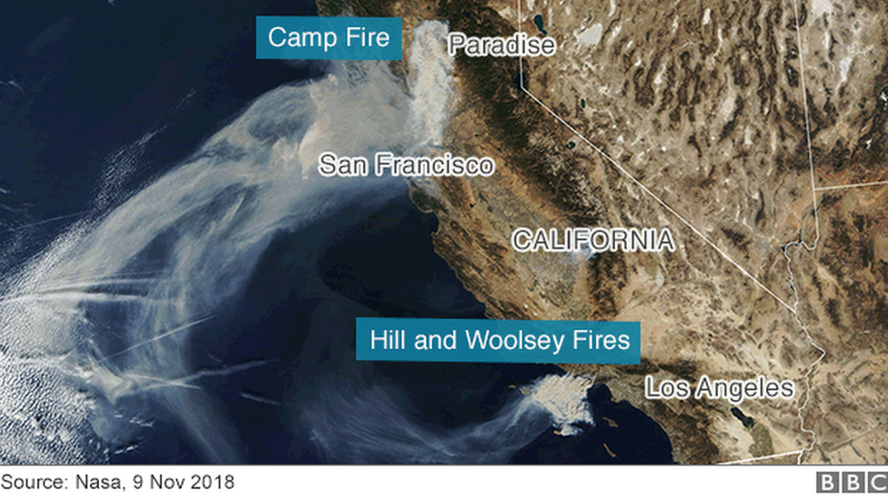 Satellite image of California showing where the north and south fires are