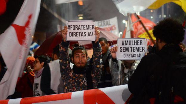 Protesto contra Temer na Avenida Paulista