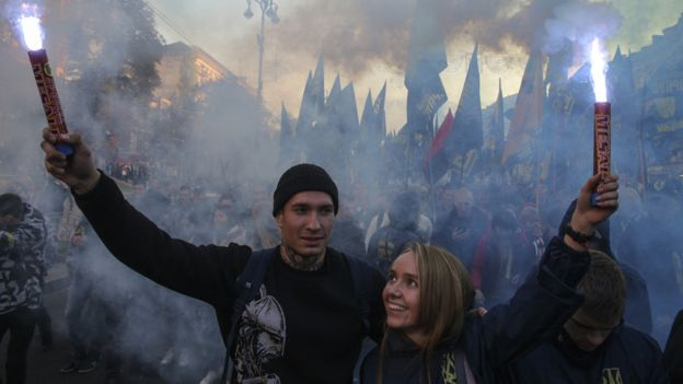 Flares at a nationalist rally in Kiev, Ukraine