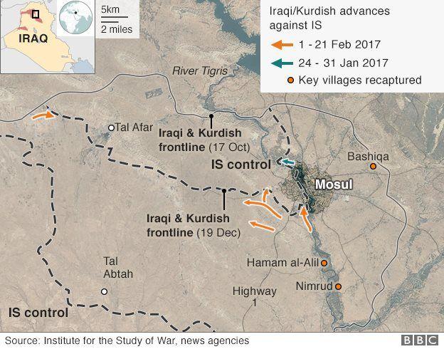 Frontlines around Mosul, 21 February 2017