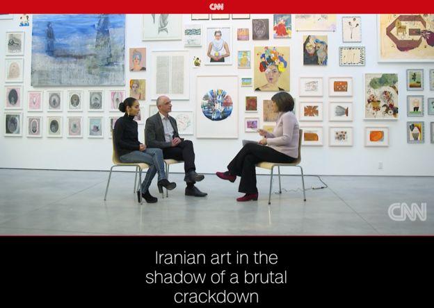 کریستین امانپور (راست) در سیانان با شبرین نشاط و هادی قائمی گفتگو کرده و از آنها درباره اعتراضات ایران پرسیده