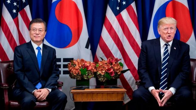 South Korea's President Moon Jae-in and US President Donald Trump wait for a meeting at the Palace Hotel during the 72nd United Nations General Assembly on 21 September 2017 in New York City.