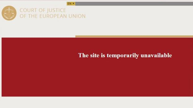 El sitio oficial del Tibunal de Justicia de la UE se bloquó justo después de publicar el fallo a favor de Google