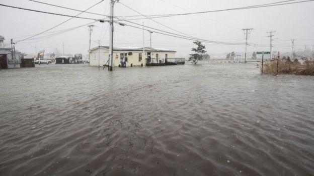 An flooded home in coastal Massachusetts