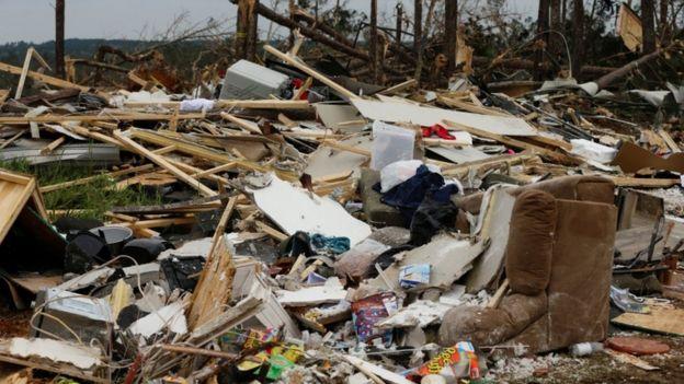 debris of a home