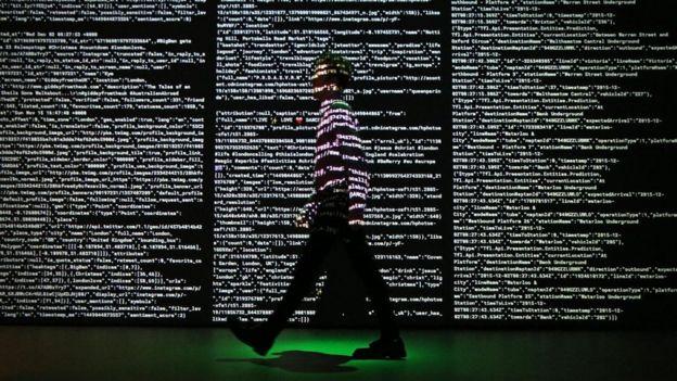 Projeção de dados ao vivo em Londres