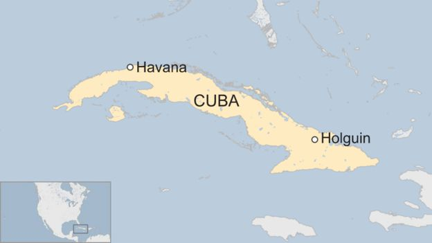 Map of Cuba showing Havana and Holguin