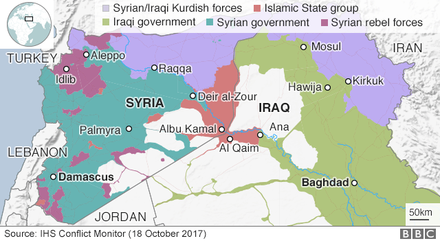 Map showing control of Iraq and Syria on 18 October 2017