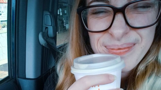 Victoria Howe with a cup of coffee