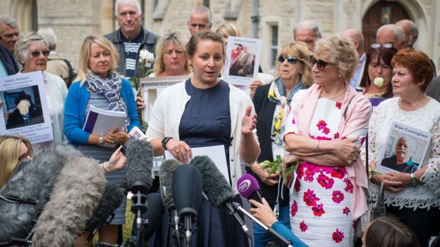 Relatives of Gosport War Memorial Hospital victims speak to the media