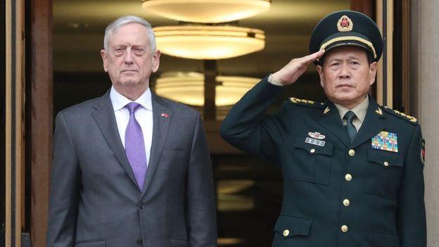 Bộ trưởng Quốc phòng Jim Mattis và Bộ trưởng Quốc phòng TQ Ngụy Phượng Hòa