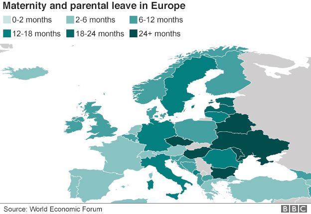 Map showing variation in parental and maternity leave across Europe